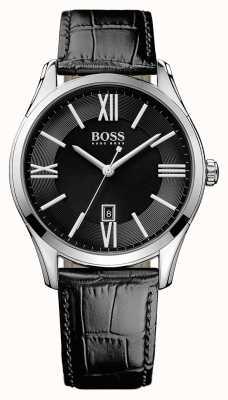 Hugo Boss Mens pulseira de couro preto embaixador preto 1513022