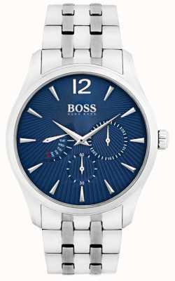 Boss Mens comandante pulseira de aço inoxidável mostrador azul 1513492