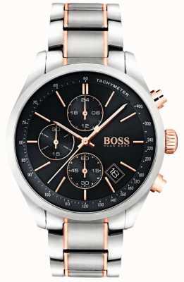 Boss Mens grand prix pulseira de aço inoxidável mostrador preto 1513473