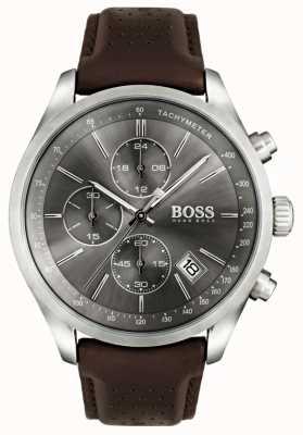 Boss Mens grande prix pulseira de couro marrom mostrador cinza 1513476