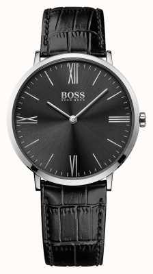 Hugo Boss Mens jackson pulseira de couro preto mostrador preto 1513369