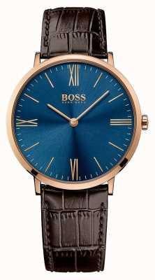 Hugo Boss Mens jackson pulseira de couro marrom azul 1513458