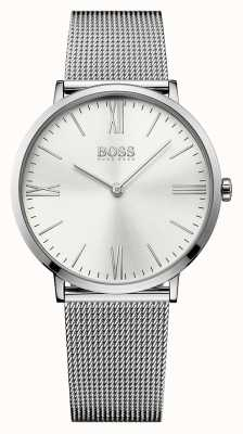 Hugo Boss Mens jackson aço inoxidável cinta de malha de prata discar 1513459