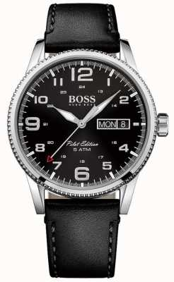 Hugo Boss Mens piloto pulseira de couro preto vintage mostrador preto 1513330