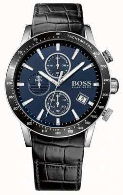 Hugo Boss Mens rafale pulseira de couro preto mostrador azul 1513391