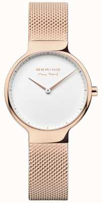 Bering Senhoras max rené alça de malha intercambiáveis ouro rosa 15531-364