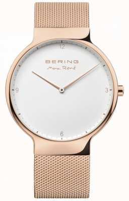 Bering Mens max rené alça de malha intercambiáveis ouro rosa 15540-364