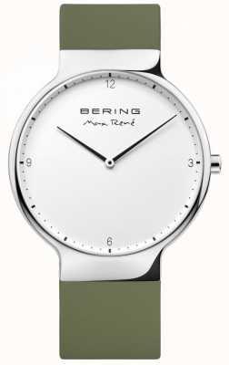 Bering Mens max rené pulseira de borracha verde intercambiável 15540-800