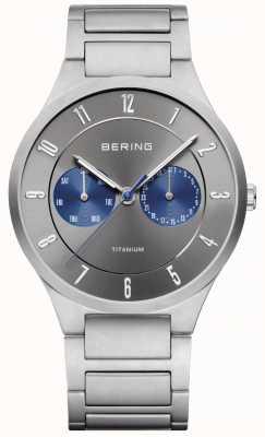 Bering Relógio de cronógrafo cinzento de titânio para homem 11539-777