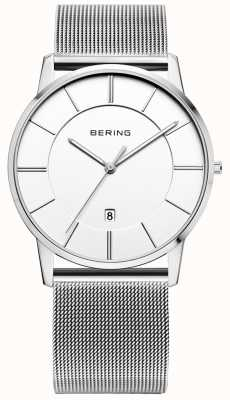 Bering Mens clássico malha cinta relógio com mostrador branco 13139-000
