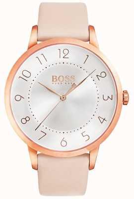 Boss Relógio de couro rosa eclipse das mulheres 1502407