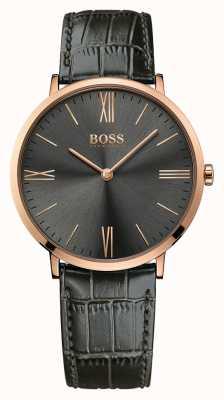 Hugo Boss Mens jackson relógio de couro cinza 1513372
