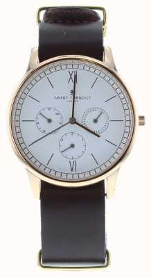 Smart Turnout Time watch - ouro rosa com pulseira de couro borgonha rg STK2/RO/56/W