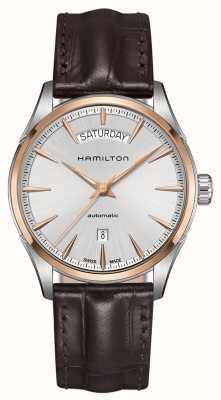 Hamilton Mens jazzmaster day date couro automático H42525551