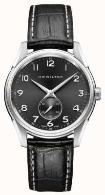 Hamilton Mens jazzmaster thinline pequeno segundo quartzo preto H38411783