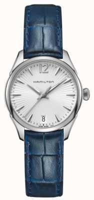 Hamilton Couro azul de quartzo jazzmaster da mulher H42211655