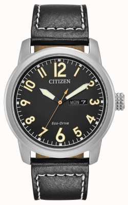 Citizen Mens eco drive preto couro chandler BM8471-01E
