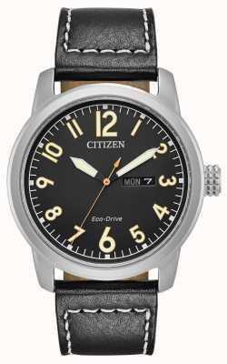 Citizen Lustre de couro preto eco drive masculino BM8471-01E