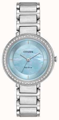 Citizen Womans eco-drive silhueta cristal azul EM0480-52N