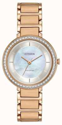 Citizen Womans eco-drive silhueta cristal subiu ouro EM0483-54D
