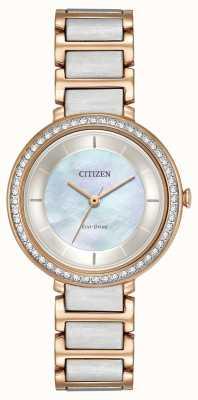 Citizen Womans eco-drive silhueta cristal dois tons subiu ouro EM0483-89D