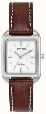 Citizen Womans eco-drive couro marrom silhueta EM0490-08A