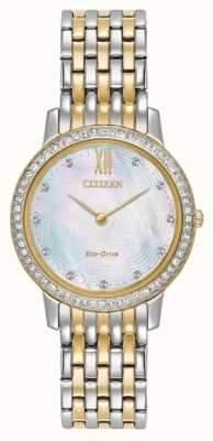 Citizen Womans eco-drive silhueta cristal dois tom ouro EX1484-57D