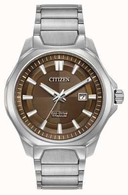 Citizen Mens eco-drive super titânio marrom mostrador do relógio AW1540-88X