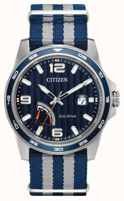 Citizen Mens relógio de tecido azul de reserva de energia ecológica AW7038-04L