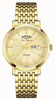 Rotary Mens cinta banhado a ouro windsor GB90156/03