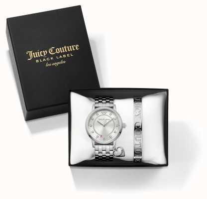 Juicy Couture Pulseira de prata de socialite da mulher e conjunto de presente de relógio 1950010