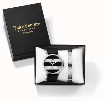 Juicy Couture Womans jetsetter preto pulseira de prata e relógio dom conjunto 1950011