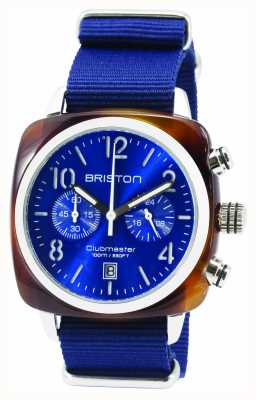 Briston Mens clubmaster clássico acetato chrono tartaruga azul 15140.SA.T.9.NNB