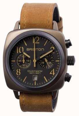 Briston Mens clubmaster classic chrono khaki em aço 15140.SPK.C.5.LVBR