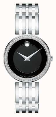 Movado Esperanza das mulheres 63-diamante bisel mostrador preto 0607052