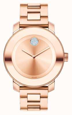 Movado Negrito de ouro rosa de iões banhados a iões 3600086