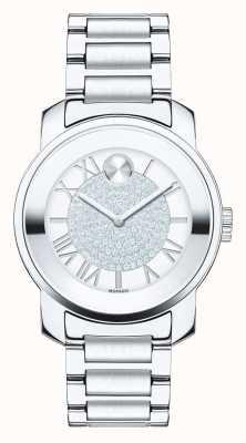 Movado Negrito de luxo em aço inoxidável de luxo em cristal k1 3600254