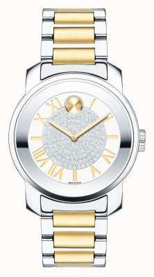 Movado Negrito médio luxe dois tons prata ouro cristal k1 3600256