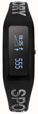Superdry Correia de silicone preto unisex fitness tracker SYG202B
