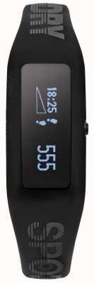 Superdry Correia de silicone preto unisex fitness tracker SYG202BB