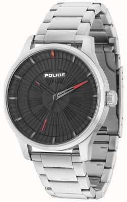 Police Mens jet 3 mãos preto dial aço inoxidável 15038JS/02M