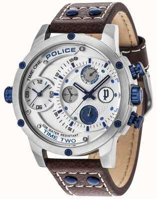 Police Mens adder multi-função data prata pulseira de couro de discagem 14536JS/04