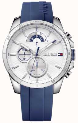 Tommy Hilfiger Decker pulseira de borracha azul | mostrador branco 1791349