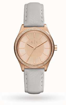 Armani Exchange Correia de couro cinza da mulher ouro rosa AX5444