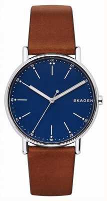 Skagen Assista Mens pulseira de couro marrom azul SKW6355
