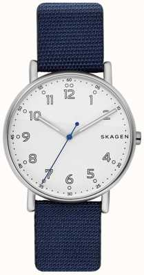 Skagen Mens signatur pulseira azul mostrador branco SKW6356