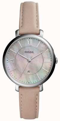 Fossil Mulher jacqueline mop dial pulseira de couro rosa ES4151