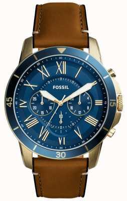 Fossil Mens concessão couro bronzeado pulseira azul cronógrafo FS5268