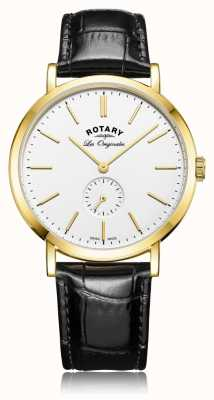 Rotary Mens swiss made windsor pulseira de couro preto GS90192/02