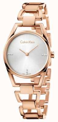Calvin Klein Womans dainty rosa banhado a ouro K7L2364T